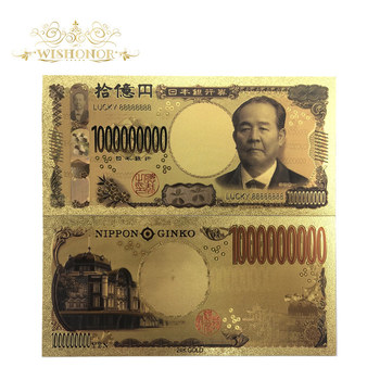 100Pcs/lot Lucky 888 Color Japan Banknote 1 Billion Yen Banknotes in 99.9% Gold Plated Fake Paper Money For Collection
