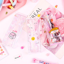 Cute student pencil bag creative quicksand three-dimensional shape little fairy stationery
