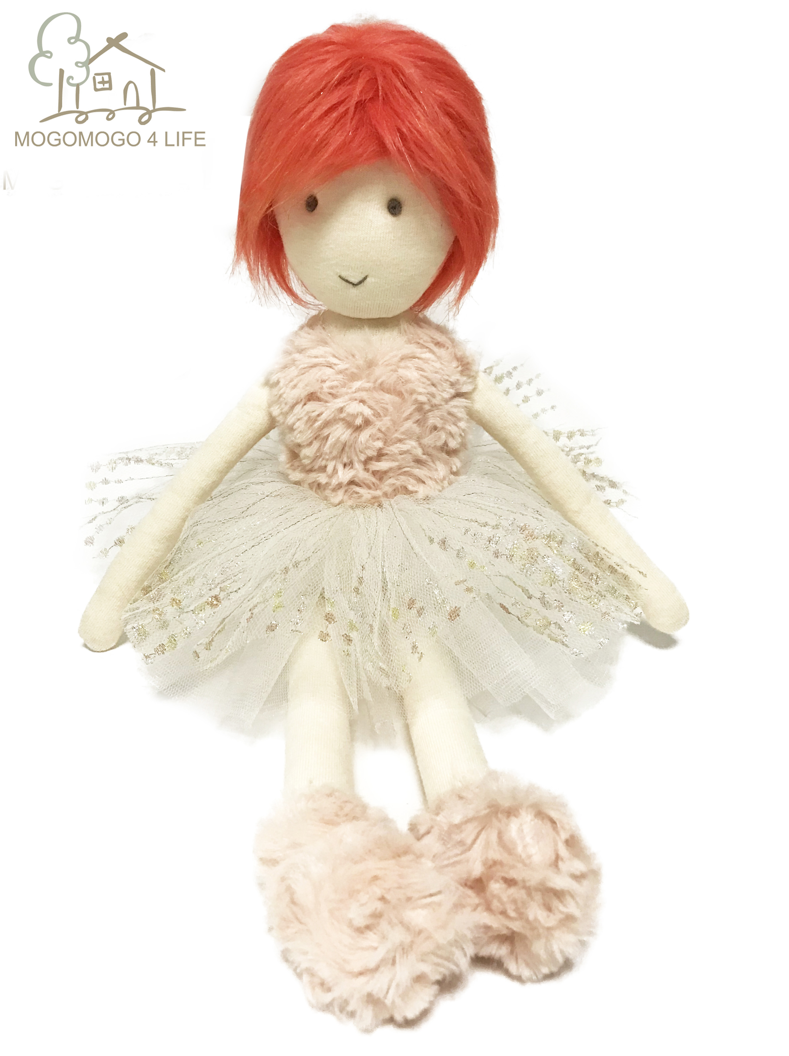 Luxury Handmade Stuffed Girl Plush Toys With Red Hair Premium Present Option Fashion Pink Ballerina Girl Doll Princess Girl Doll