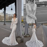 2020 Mermaid Wedding Dresses Sexy Deep V Neck Long Sleeves Lace Appliques Beads Bridal Gowns Backless Sweep Train Wedding Dress
