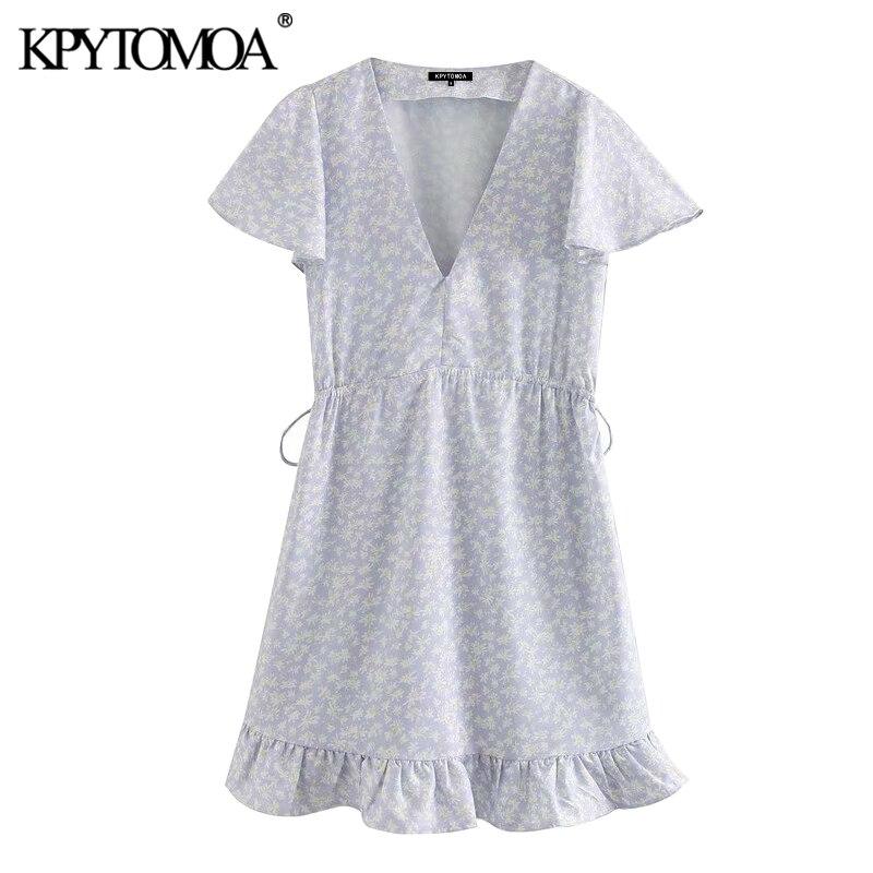 KPYTOMOA Women 2020 Elegant Fashion Floral Print Ruffled Mini Dress Vintage Short Sleeve Adjustable Tied Female Dresses Vestidos