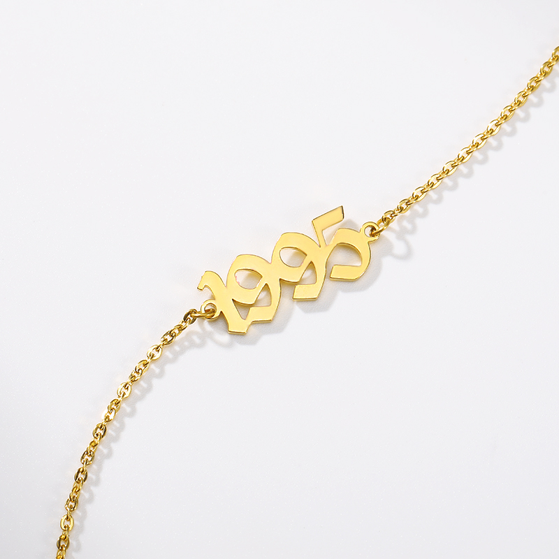Birth Year Bracelets 1995 Old English Number Chain Bracelet For Women Fashion Jewelry Kids Brithday Gift Gold Silver Pulseras