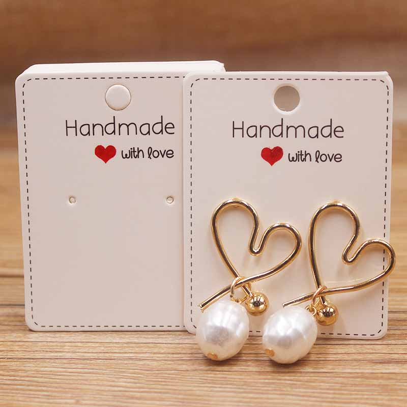 100Pcs White Plain Hanging Earring Cards Jewelry Display Hanging Holder