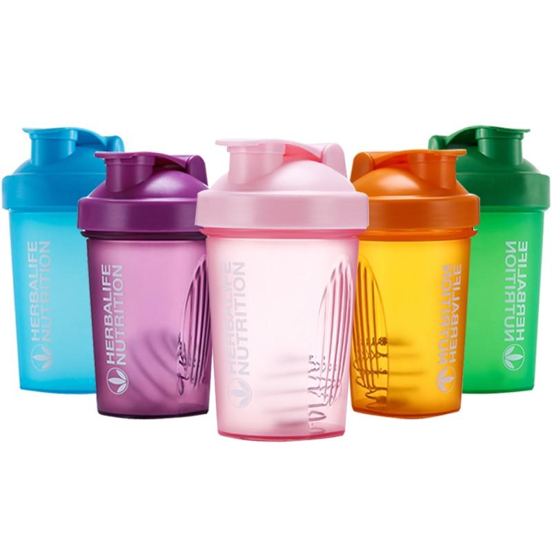 Botella Mezcladora de proteína de suero de leche de 400 Ml, botella deportiva para gimnasio, botella para beber de plástico portátil al aire libre, botella coctelera deportiva
