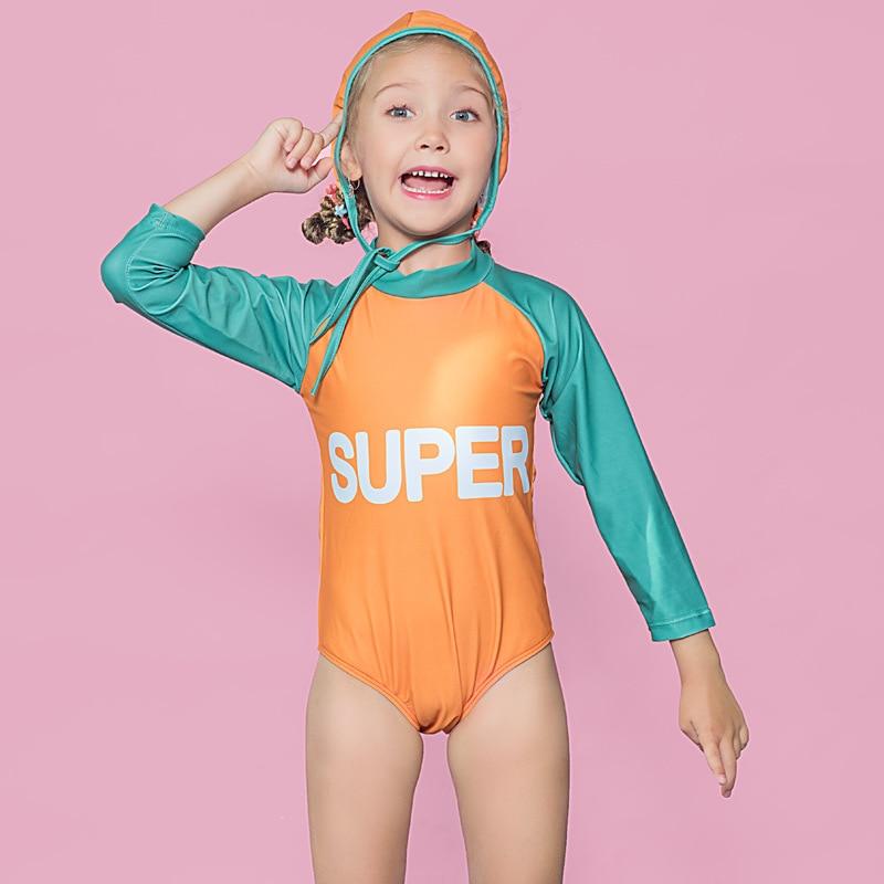 2019 Girls Baby Girls Cute Sports Hot Springs Siamese Swimsuit Polka Dot With Swim Cap Swimwear Olive Flower 2018