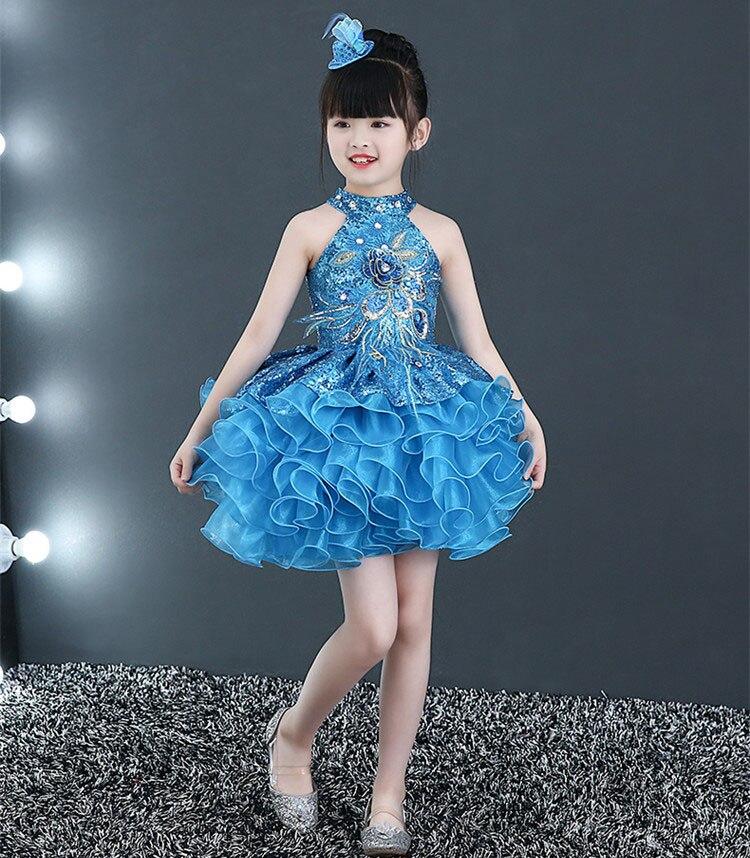 Короткие пышные красивые платья с оборками для маленьких девочек недорогой танцевальный костюм лавандового, красного, желтого цвета платье с блестками для маленьких девочек - Цвет: Синий