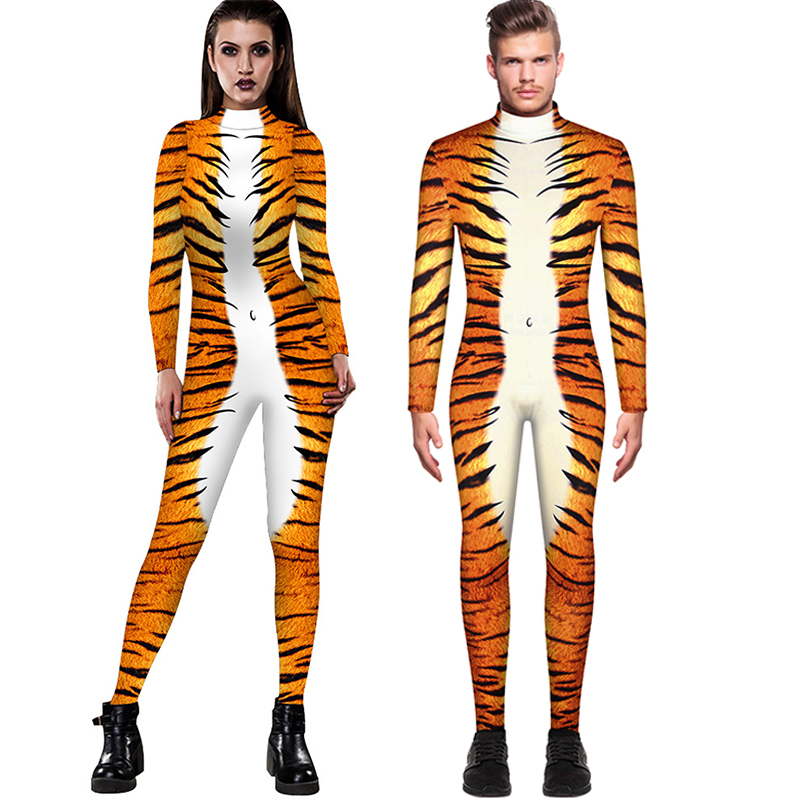 Adult Bodysuit Cosplay Costumes Party For Men women Leopard 3D Printing Animal Snake Muscle Bodysuit Jumpsuits Slim casual pants