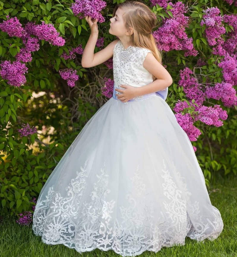 New Ivory White Flower Girl Dress for Wedding Party Puffy Tulle Beaded Lace Girls First Communion Dress with Bow 2-16Years