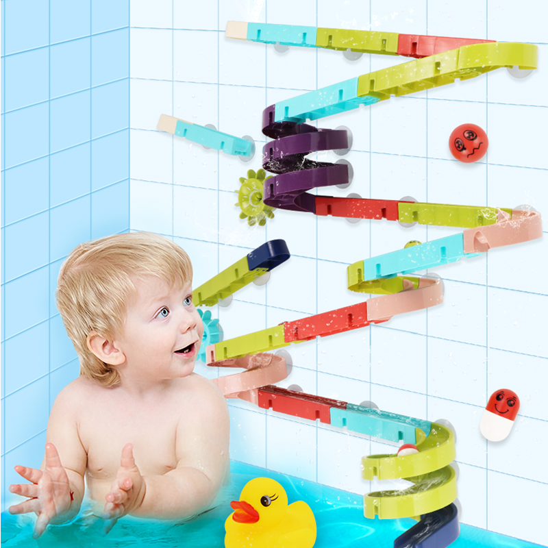 Baby Bath Toy Cartoon Duck Classic Shower Assemble Track Water Tool Games Bathroom Swimming Bathing Shower Educational Kid Toys