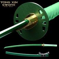 Katana Sword Real Japanese Samurai Swords Katana with Green Saya 1065 Carbon Steel Sharp Blade