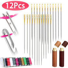 12Pcs/set Elderly Needle-side Hole Blind Needle Household Sewing Stainless Steel Hand Sewing Needless Threading Apparel Sewing