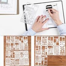 12/20 sztuk zestaw szablonów plastikowe Planner DIY szablon do rysowania terminarz planer notatnik pamiętnik księga gości