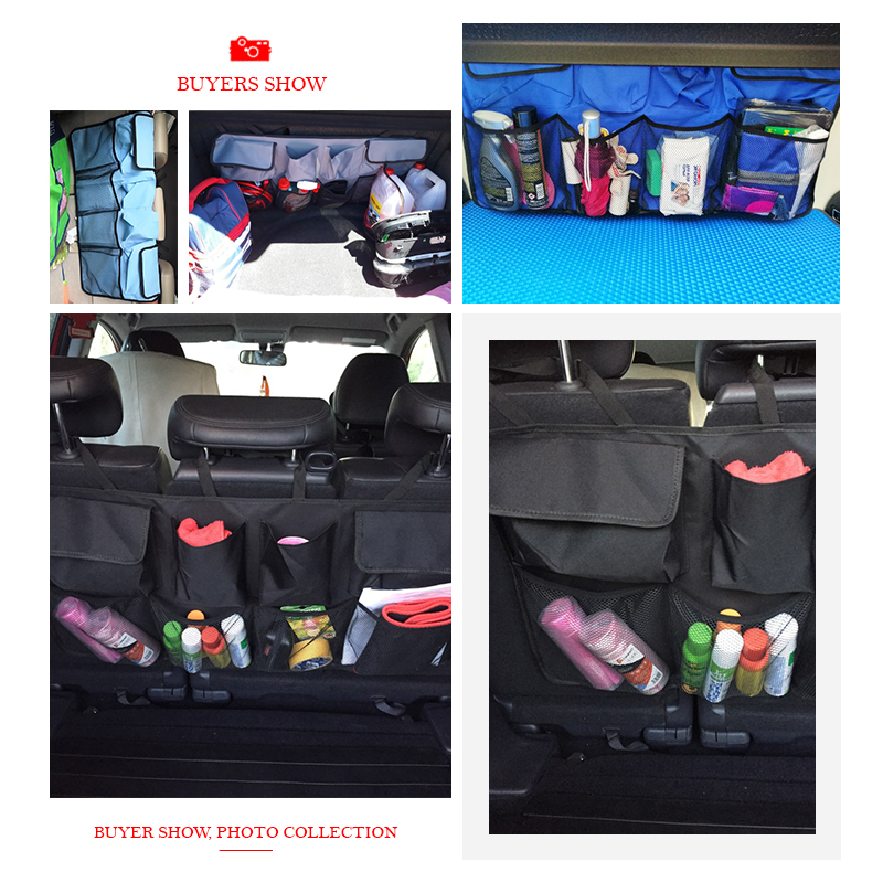 Car Rear Seat Back Storage Bag Multi Hanging Nets Pocket Trunk Bag Organizer Auto Stowing Tidying Interior Accessories Supplies 5