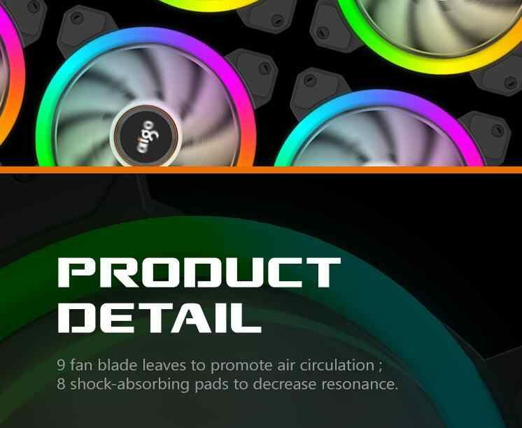 Aigo DR12-ventilateur de refroidissement, coque d'ordinateur pièces, barre lumineuse RGB réglable, LED 120mm, silencieux, ventilateur avec refroidisseur à distance IR, bandes lumineuses led