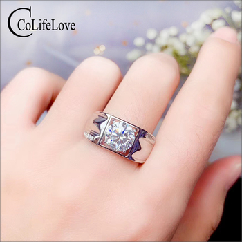 CoLife Jewelry 1ct 2ct Real Moissanite Ring for Man Fashion Man Jewelry 925 Silver Gemstone Ring for Man Moissanite Ring