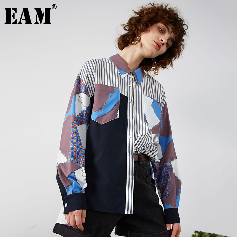 [EAM] Women Blue Pattern Printed Big Size Blouse New Lapel Long Sleeve Loose Fit Shirt Fashion Tide Spring Autumn 2020 1R702