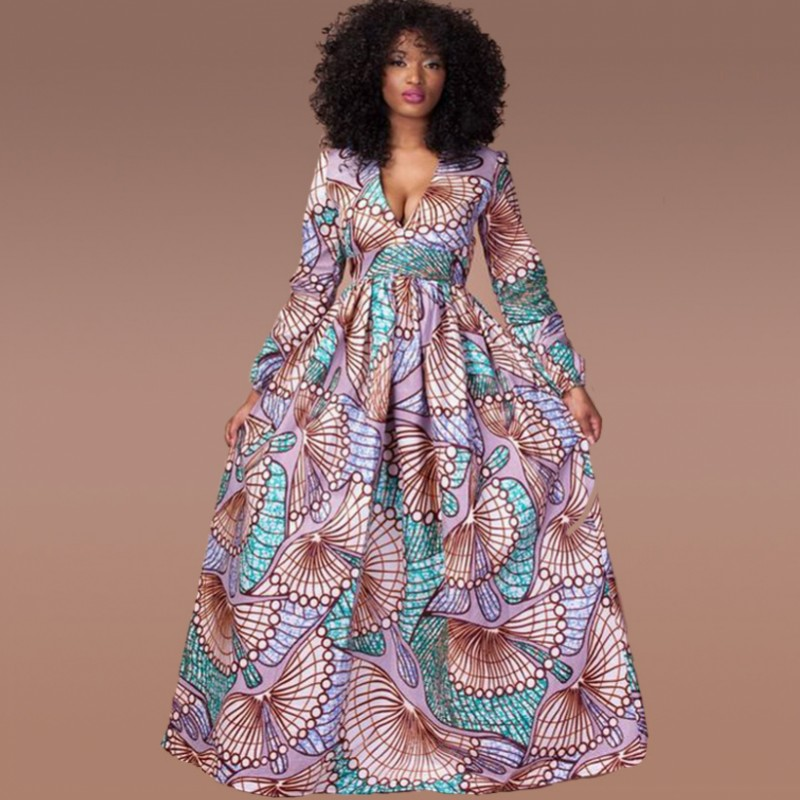 Fadzeco Elegant African Dresses Dashiki Print V Neck Long Robe Dress Vestidos Party Style Bazin Riche Autumn Fashion Sexy Dress|Африканская одежда|   | АлиЭкспресс