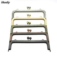 5 pcs/lot 20 cm large size square embossing metal purse frame Kiss clasp bead head DIY bag accessory 5 colors