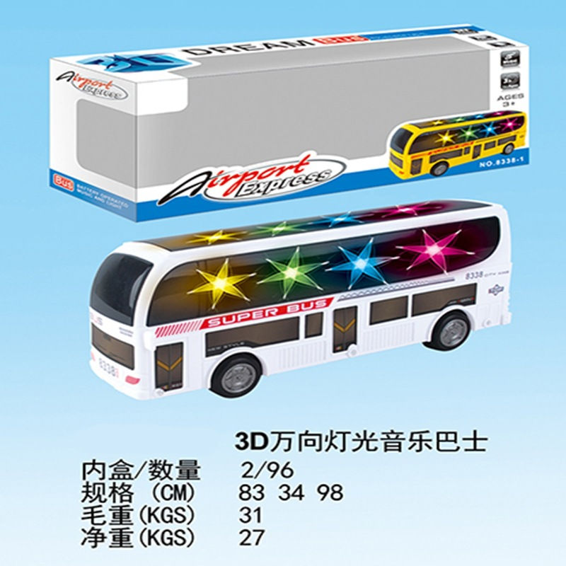Hot Selling CHILDREN'S Toy Universal Light Music E-Bike Model Toy 3D Colorful Bus Bus Toy
