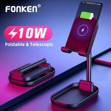 FONKEN מתקפל אלחוטי מטען 10W שולחן נייד מחזיק Qi טעינה עבור טלפון Stand כפול סליל תשלום מהיר אוניברסלי סוגר