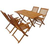 5 Piece Folding Outdoor Dining Garden Set Solid Eucalyptus Wood Furniture Table And Chair For Yard & Garden decor
