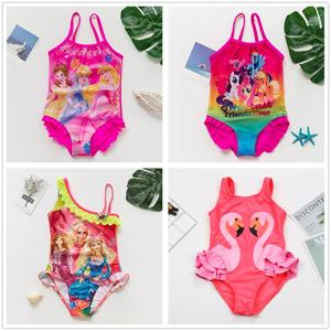 2~12Year Girls Cartoon Swimwear One piece Children Swimsuit Kids Float Swimsuit Kids High quality swimwear Beach wear-H023MIX(China)