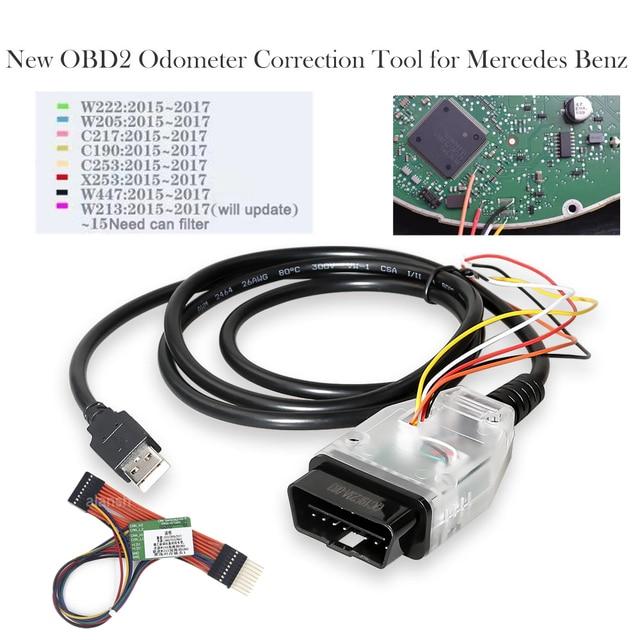 OBD2 de corrección de kilometraje herramienta OBD 2 corrección del odómetro para Mercedes para Benz MB 2015 2018 millas de ajuste pueden filtro