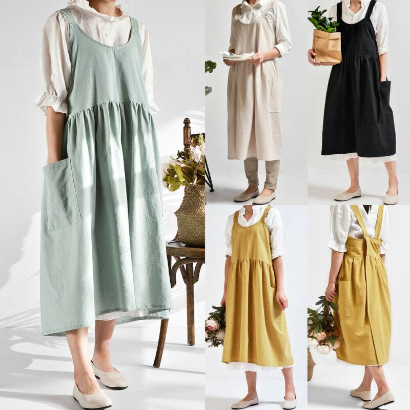 1PC Autumn Female Women Bib Apron Cotton Linen Pinafore Dress Cafe Kitchen Cooking Florist Vintage
