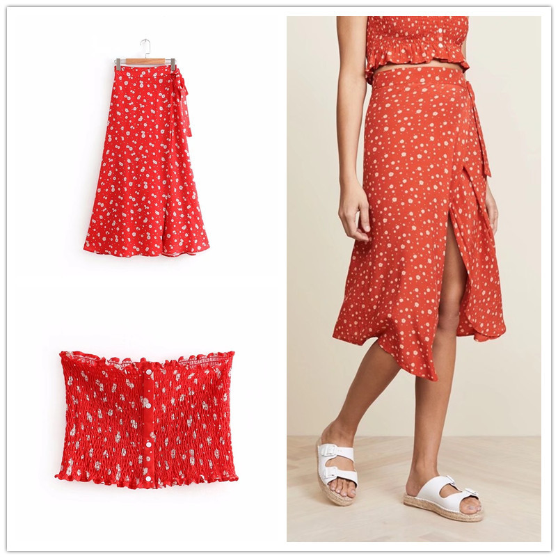 Floral-Print Two-Piece Set Dress Women's Summer Beach Vacation Style Tube Top Short Jacket + Skirt Long Skirts S8491