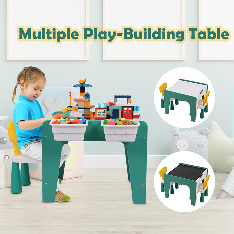Kids Table And Chair Set Wood Learning Drawing Painting Set Educational Building Block Game Toy Gift For Children with 2 Chairs
