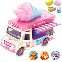 Pull Back Car Food Truck Vehicle Toy Car with Music Light and Openable Doors Awning, Ice Cream Toy Cart Alloy Toys Diecast