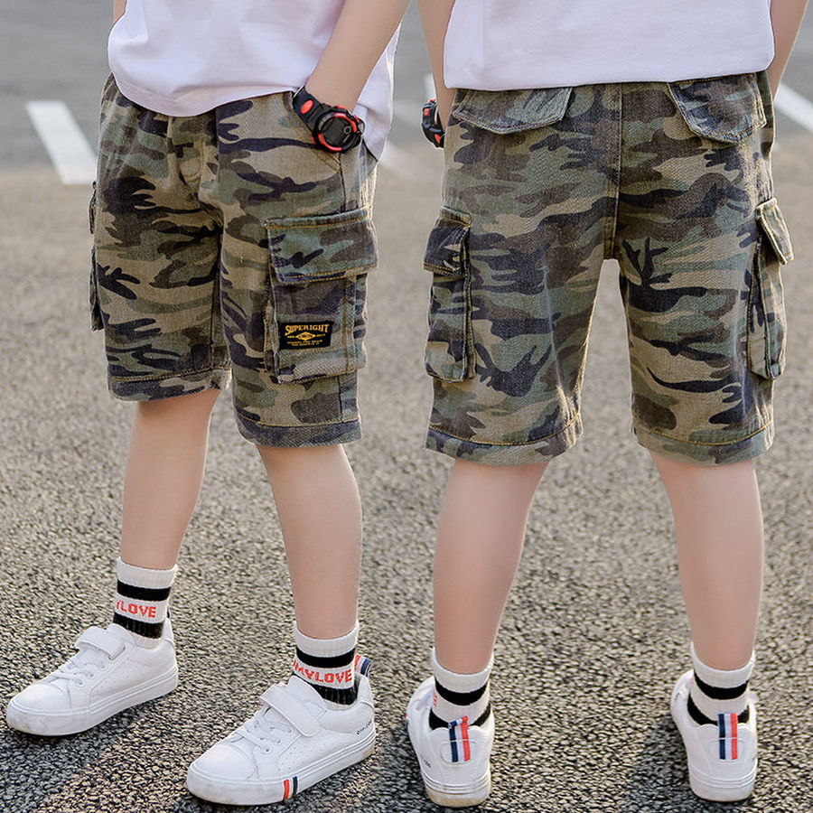 Camouflage Shorts For Boys Summer Kids Short Casual Straight Printed Short Pant With Pocket Teenager Short Sport 110-170
