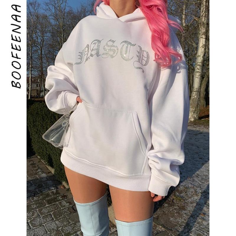 BOOFEENAA Rhinestone Letter Thick Hoodie Oversized Sweatshirt Dress Women Clothes Autumn Matching Hoodies Pullover C87-AG28