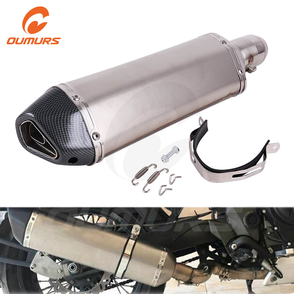 OUMURS Motorcycle 470mm ATV Exhaust Muffler Pipe For Akrapovic DB Killer Slip on Universal 51mm For TMAX FZ6 Z750 F800GS Scooter image