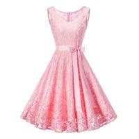 Summer Slim Dress Flying Hem Women 2019 Sleeveless Lace Patchwork Elegant Vintage Dresses Retro Rockabilly Prom Party Dress