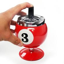 Creative Push Down Cigarette Ashtray No.8 Billiards Ball without Base Metal Smoking Ash Tray for Indoor or Outdoor Use