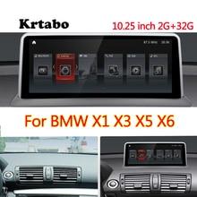 Krtabo 네비게이션 블루투스 와이파이 BMW X1 X3 X5 X6 자동차 라디오 안드로이드 멀티미디어 플레이어 10.25 인치 HD 스크린 GPS
