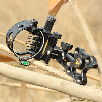Black Compound Bow Sight Optical Fiber Outdoor Archery 7Pin Quickly Adjust The Aiming Frame For Archery Hunting Shooting