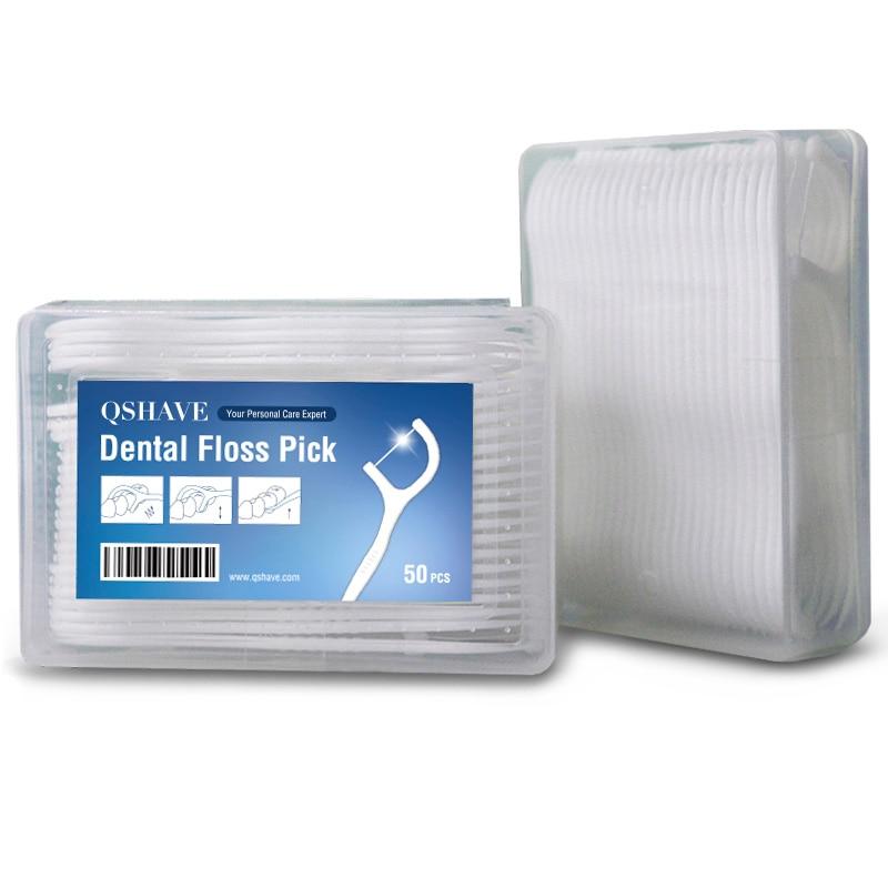 QSHAVE 50pcs Dental Floss Flosser Picks Teeth Toothpicks Stick Tooth Clean Oral Care 7.5cm Random Package