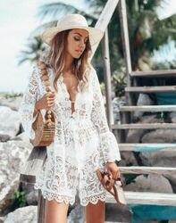 Venda quente outono rendas croche feminino sexy crochê bikini cobrir floral branco preto maiô praia terno verão vestido topos