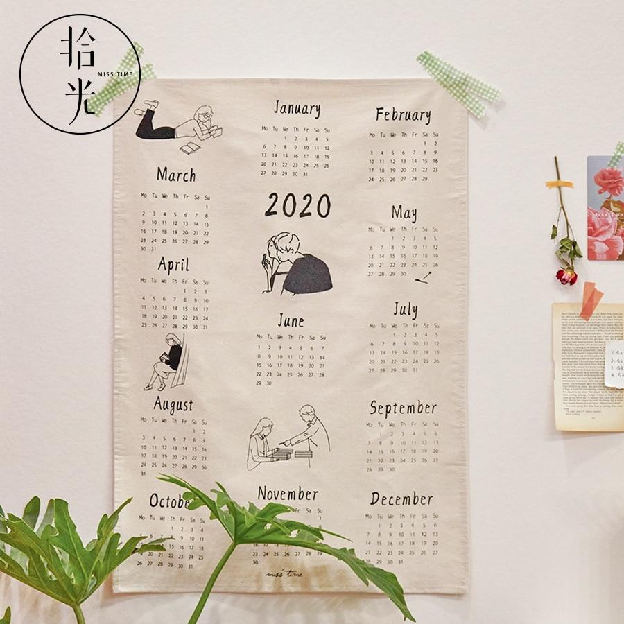 Calendar 2020 Cloth Calendar Collection Box Calendar Postcard Clip Set Desk Wall Calendar Christmas Gift Daily Planner 2020