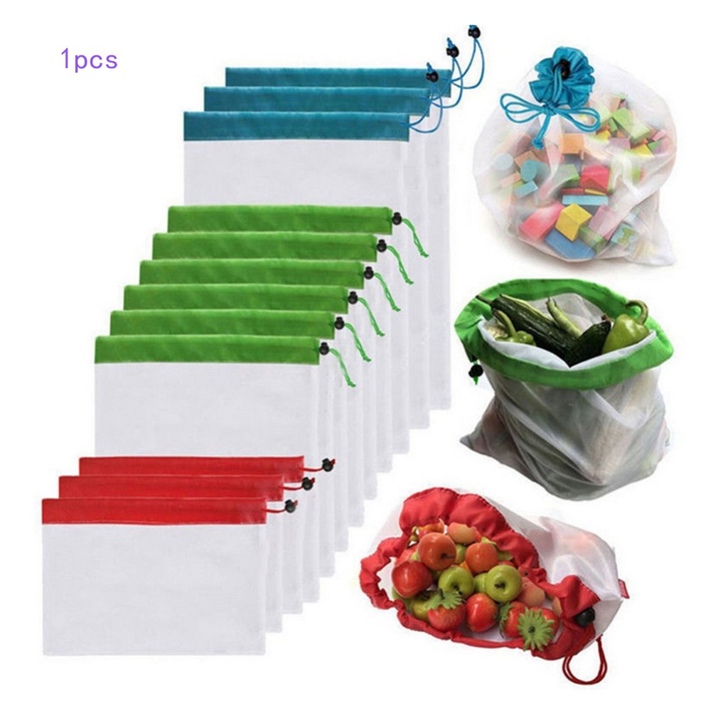 Fruit Net Bag Mesh Reusable Produce Bags Vegetable Fruit Storage Market Shopping Polyester Stitching Storage Bags