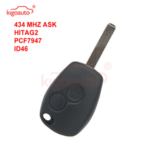 Kigoauto Remote key 2 button 434Mhz VA6 blade PCF7947 for Renault Clio Modus Twingo Kangoo whatskey 1 button remote car key shell fob case cover for renault twingo clio master scenic kangoo vac102 blade replacement