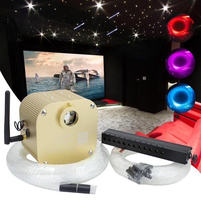 16w rgbw twinkle inteligente bluetooth app kit de teto estrela de fibra óptica misturada 335/430 pces *(0.75 + 1.0 + 1.5mm) com efeito de meteoro tiro