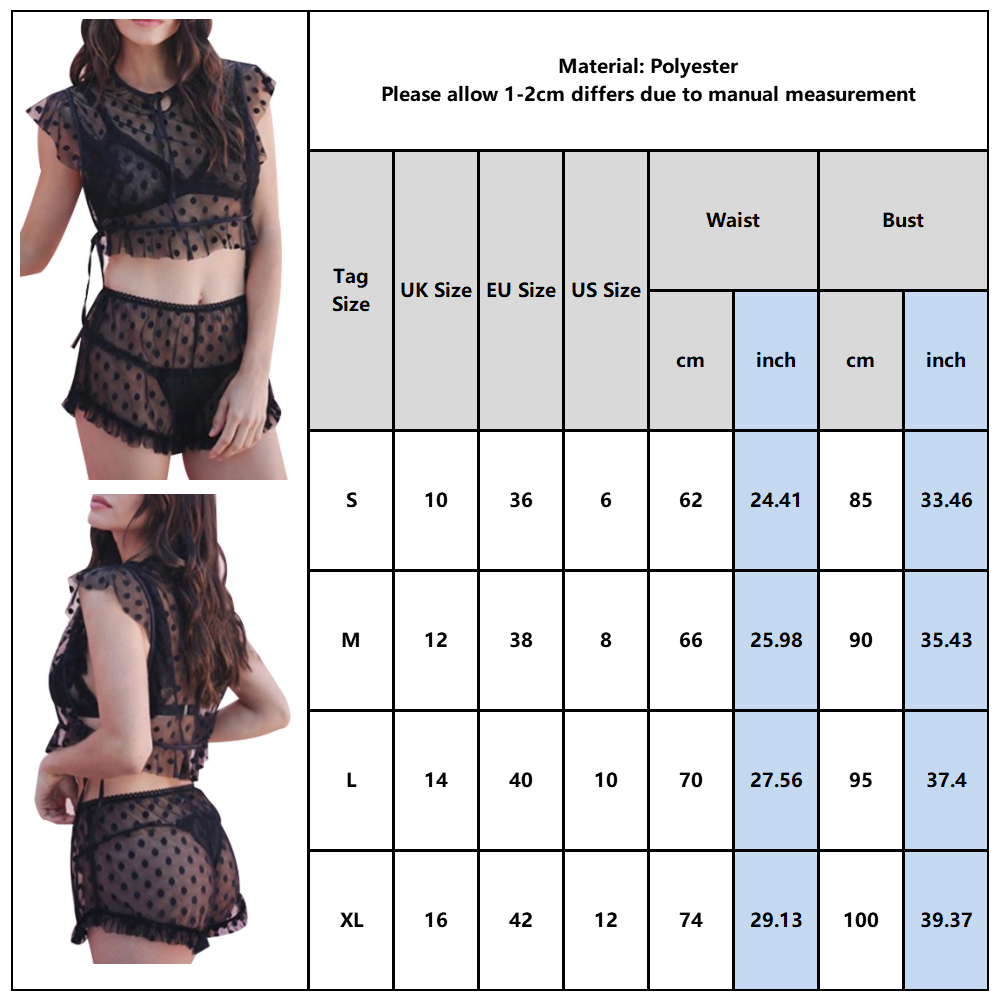 Image 5 - Polka Dot Printed Lingerie Set Women Sexy Transparent Underwear Sleepwear Set Erotic Hot Tops And Shorts Lenceria Female D30Lingerie Sets   -