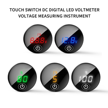 Car Motorcycle DC12V-24V LED Panel Digital Voltage Meter Battery Capacity Display Voltmeter with Touch ON OFF image