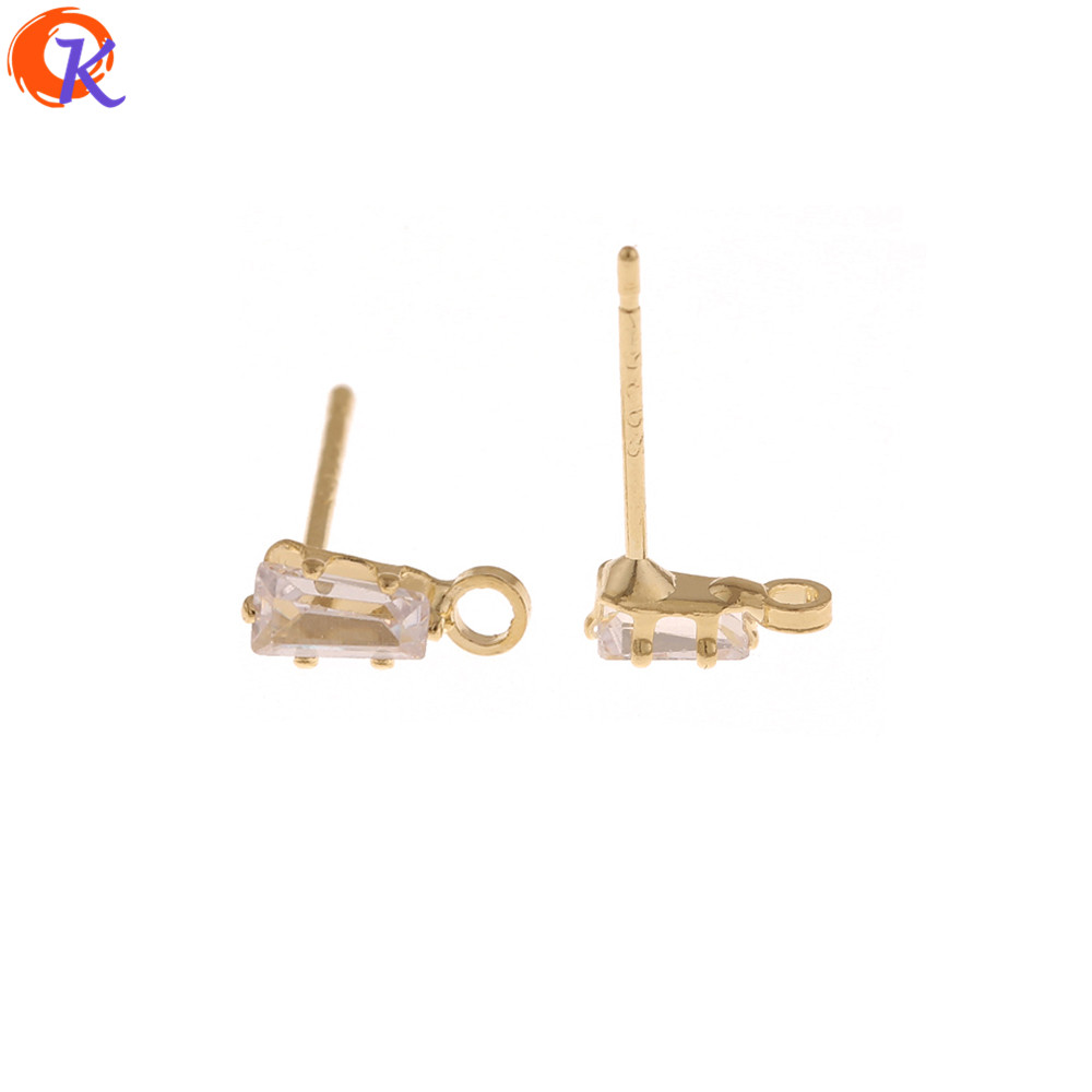 Cordial Design 100Pcs 3*8MM Jewelry Accessories/Rhinestone Earrings Stud/Claw/Trapezoid Shape/Hand Made/DIY Earrings Making