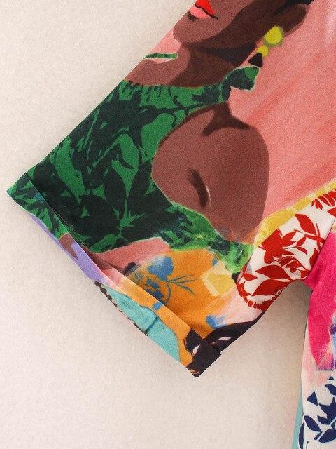 CS957 Summer Stylish Notched Neck Short Sleeve Character Print Blouse Colorful Shirts Blusas Women Clothing 5