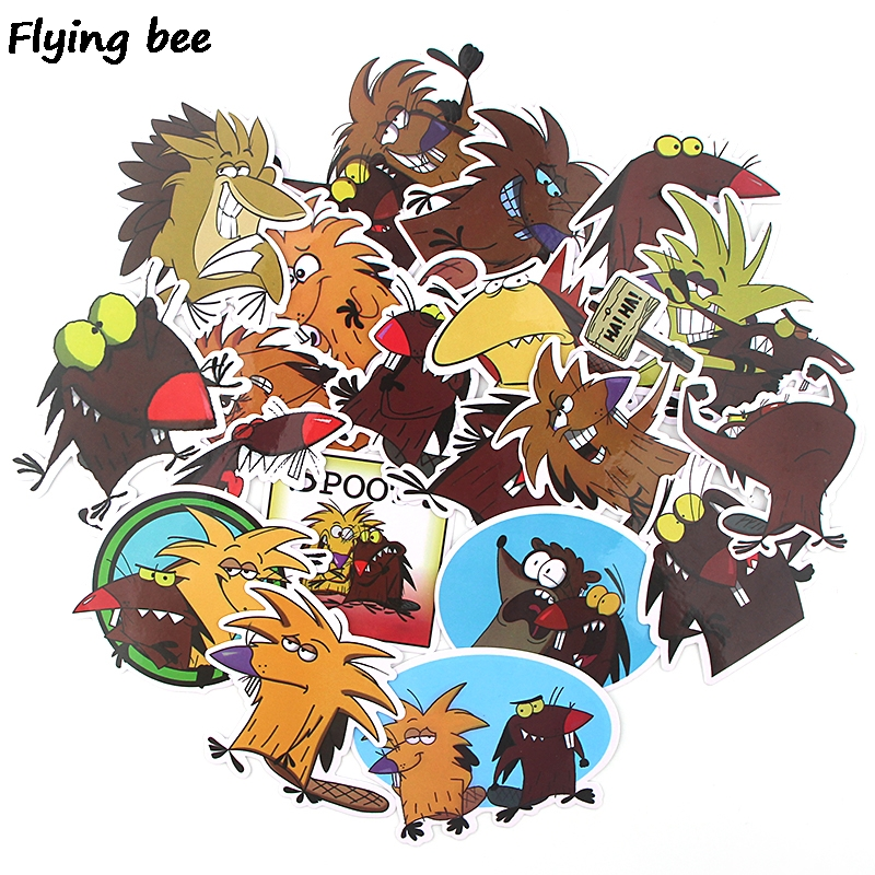 20 Flyingbee 20 pcs The Angry Beaver Sticker funny cute Stickers for DIY Luggage Laptop Skateboard Car Bicycle Stickers X0350 (1)
