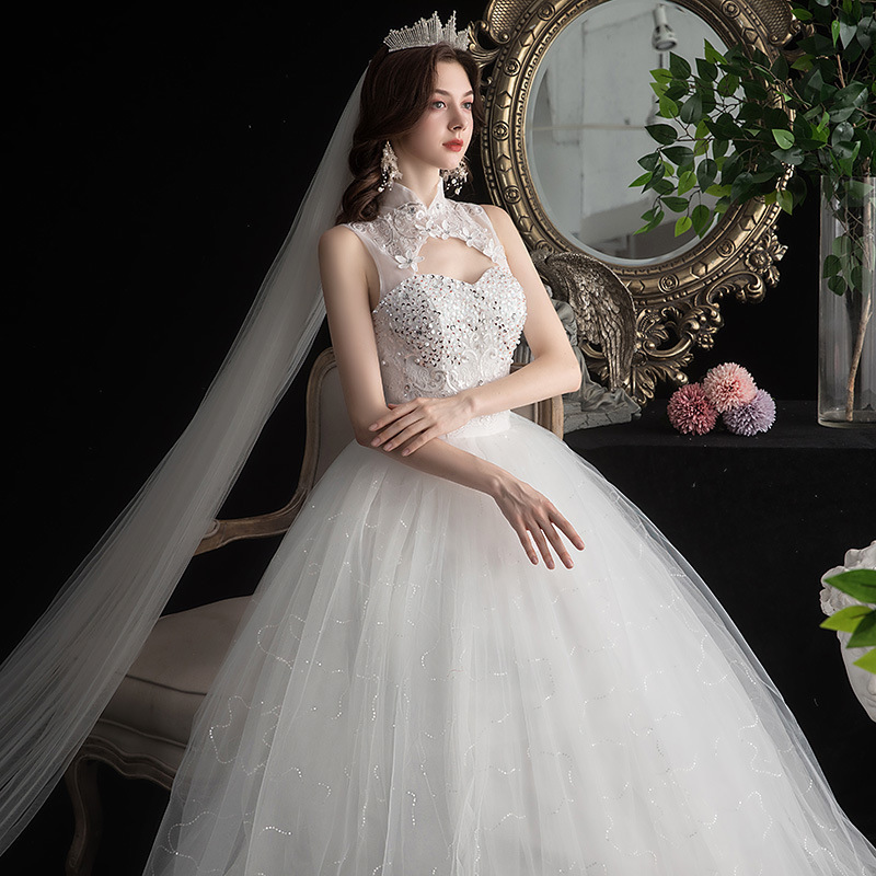 Vestido Cocktail 2020 New Autumn And Spring Korean Simple Bride Show Thin Stand Collar Chinese Style Shoulder Wedding Dress H60